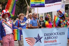 The annual Pride Parade LGBT. Impressions from gay and lesbians participating in the Gay Pride Parade with rainbow colors and flag royalty free stock photos
