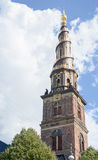 Copenhagen, Denmark - August 25, 2014 - Church tower of Our Saviour (Danish:Vor Frelsers Kirke) baroque church in Copenhagen, Denm Royalty Free Stock Photography