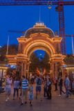 COPENHAGEN, DENMARK - AUGUST 27, 2016: Evening view of an entrance to Tivoli Gardens, a famous amusement park and stock images