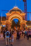 COPENHAGEN, DENMARK - AUGUST 27, 2016: Evening view of an entrance to Tivoli Gardens, a famous amusement park and royalty free stock photography