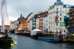 COPENHAGEN, DENMARK - AUGUST 24, 2015: Nyhavn Veteran Ship and Museum Harbour, occupying the inner section of Nyhavn between the N Stock Photo
