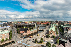 COPENHAGEN, DENMARK - AUGUST 25, 2015: Parliament Palace in Copenhagen and Bosen 17th-century stock exchange in the center of Cope. Parliament Palace in Stock Images