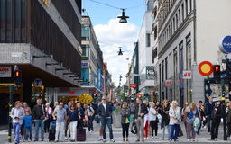 Copenhagen, Denmark - August 25, 2014 - People walk down crowd Stroget street in Copenhagen, Denmark. Royalty Free Stock Photo