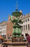 Copenhagen, Denmark - bronze Stork fountain in Amagertorv Stock Images