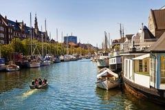 Copenhagen, Denmark -Christianshavn main channel with boats. Copenhagen, Denmark: view of the main channel crossing Christianshavn: once a merchant town then royalty free stock photos