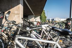 Bicycle parking lot at a Metro Station stock photo
