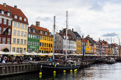 COPENHAGEN, DENMARK - CIRCA 2016 - Nyhavn is a 17th-century waterfront, canal and entertainment district in Copenhagen. This is one of the city`s main Stock Image