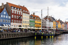 COPENHAGEN, DENMARK - CIRCA 2016 - Nyhavn is a 17th-century waterfront, canal and entertainment district in Copenhagen. This is one of the city`s main Royalty Free Stock Photo