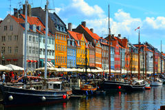 Copenhagen, Denmark. Colorful building of Nyhavn in Copenhagen, Denmark Stock Images
