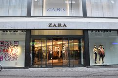 Sala at Zara retail store in Copenhagen Denmark. Copenhagen/Denmark. 31.December 2018. Discount sale st spinish retail store Zrara on stroeget pedestrain street royalty free stock image