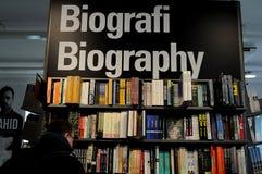 BOOK STORE BIOGRAPHY BOOKS. Copenhagen /Denmark - 04. February.2018_ .  Biography books at book store.     Photo.Francis Joseph Dean / Deanpictures Royalty Free Stock Image