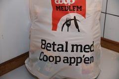 COOP CHAIN STOE MEMBERS. Copenhagen /Denmark - 15. February.2018_ . Coop chain store invite members pay coop grocery with coop apps .      Photo.Francis Joseph Royalty Free Stock Photography
