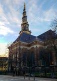 Christiansborg Church of Our Saviour spire and scandinavian houses in Copenhagen, Denmark stock photo