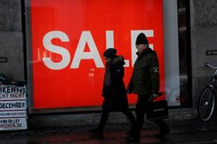 H&M 50% sale in reatil store in Copenhagen Denmark. Copenhagen/Denmark. 14.January 2019._ 50% off sale at Swedis retail store H&M hennes & Maurit o stroeget in stock photo