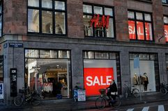 H&M 50% sale in reatil store in Copenhagen Denmark. Copenhagen/Denmark. 14.January 2019._ 50% off sale at Swedis retail store H&M hennes & Maurit o stroeget in stock images