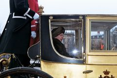 QUEEN AND PRINCE DROVE IN ROYAK CARRIAGE. Copenhagen /Denmark - 06 January 2004 _Queeb Margrethe and Prince hernik drove in royal carriage for new years rception stock photo