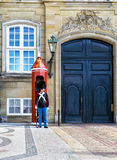 COPENHAGEN, DENMARK - JULY 07: Danish soldier guarding Amalienborg Palace on July 07, 2015. Amalienborg palace is the Danish Royal Stock Photos