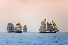 Regatta in Baltic sea. Sailing ships navigate in competition stock photos