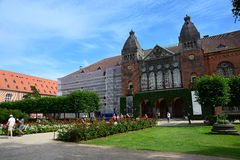 Copenhagen, Denmark - July 23, 2016: The Royal Library garden. Walking people in the garden of the Royal Library, also known as The Black Diamond Royalty Free Stock Photography