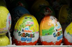 EASTER BUNNIES AND EASTER EGGS. Copenhagen / Denmark,02.March 2018_   Easter eggs and ester bunnies on sale.    .Photo by Francis Joseph Dean/Deanpictures Stock Image