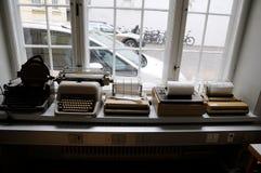 NEDIA OLDS WORKING MACHINES. Copenhagen/Denmark 16..March.2018_ .Tele and type writer media old working instsruments and machines display at Copenhagen Press stock image