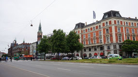 COPENHAGEN, DENMARK - MAY 31, 2017: H. C. Andersens Boulevard the most densely trafficated artery in central Copenhagen Royalty Free Stock Photos