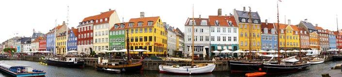 COPENHAGEN, DENMARK - MAY 31, 2017: panoramic view of Nyhavn 17th century waterfront of Copenhagen, Denmark Stock Images