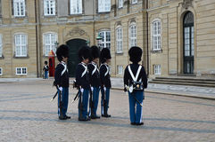 COPENHAGEN, DENMARK - MAY 31, 2017: Royal Guards during the ceremony of changing the guards at Amalienborg Castle on May 31, 2017 Royalty Free Stock Photography