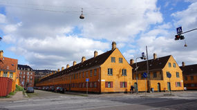 COPENHAGEN, DENMARK - MAY 31, 2017: yellow houses in Nyboder district, historic row house district of former Naval barracks in Cop Royalty Free Stock Images