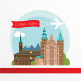 Copenhagen Denmark. Nordic capital. City skyline silhouette. Vector illustration. Icon for travel agency. City hall, Rosenborg Castle stock illustration