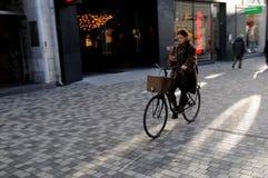 BIKES AND BUS LANE IN DENMARK. Copenhagen /Denmark - 06 November  2017.  Denark has almost bikes and bus lane to run trffic .     Photo.Francis Dean/Dean Royalty Free Stock Image