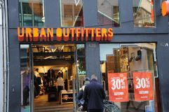 30% discount sale at urban oufitter store. Copenhagen /Denmark - 21.November 2017. 30% disount sale urban outfitters store in Copenhagen, Denmark Photo.Francis royalty free stock image