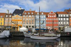 Copenhagen Denmark. November 9 2016, Nice colorful houses in the harbor, beautiful autumn day in the city royalty free stock images