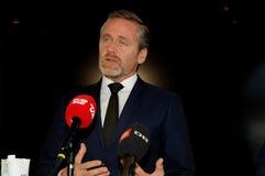 Copenhagen/Denmark 15.November 2018. Denmark`s three ministers Anders Samuelsen danish minister for foreign affairs Minister for. Defence Claus Hjort royalty free stock images