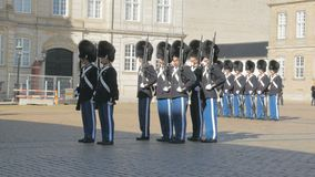Copenhagen, Denmark - OCT, 2017: ceremony of changing of the Danish Royal Guards at Amalienborg Palace stock video footage