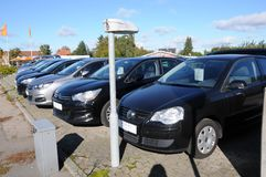USED FOR RESALE. Copenhagen /Denmark - 09 October 2017. Used car for resale at car dealer in Herlev- Photo.Francis Dean/Dean Pictures royalty free stock photo