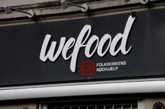 WEFOOD SHOP OWN BY DANISH FOLKE CHURCH. Copenhagen /Denmark - 25.October 2017. WEFOOD store is own by danish state luthern church called folke kirke aid, wefood royalty free stock photo