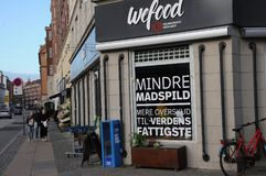 WEFOOD SHOP OWN BY DANISH FOLKE CHURCH. Copenhagen /Denmark - 25.October 2017. WEFOOD store is own by danish state luthern church called folke kirke aid, wefood stock images