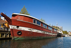 Copenhagen, Denmark - old wooden ship moored  at  Frederiksholm Royalty Free Stock Image