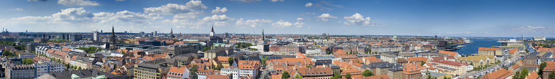 Copenhagen Denmark Panorama. Large panoramic view of Copenhagen, Denmark Royalty Free Stock Photos