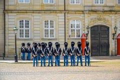 COPENHAGEN, DENMARK: Royal Life Guards at Amalienborg Palace, Copenhagen, Denmark Royalty Free Stock Photo