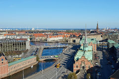 Copenhagen, Denmark seen from above on a sunny day Royalty Free Stock Images