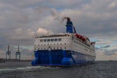 Ferry Crown Seaways. Copenhagen Denmark - September 17. 2013: Ferry Crown Seaways leaves Copenhagen harbor on way to Oslo stock image