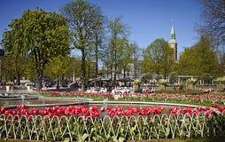 Copenhagen, Denmark: Tivoli Gardens:fountains and beautiful flowers Royalty Free Stock Image