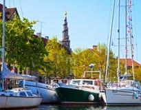 Copenhagen, Denmark:view of boats anchored at Christianshavn cit Royalty Free Stock Photos