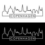copenhagen domu przyglądający nowy opery linia horyzontu widok liniowy styl ilustracja wektor