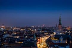 Copenhagen downtown. Cityscape of copenhagen in the bluehour Stock Photos