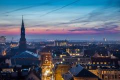 Copenhagen downtown. Cityscape of copenhagen in the bluehour Royalty Free Stock Image