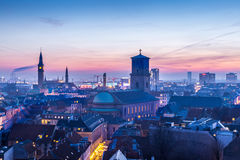 Copenhagen downtown. Cityscape of copenhagen in the bluehour. Tower of city hall royalty free stock image