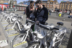 COPENHAGEN ELECTRIC CITY BIKES Stock Photos